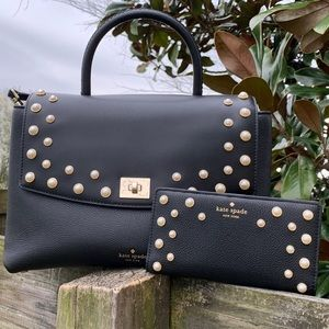 Kate Spade ♠️ Black Pearl Satchel Bag Purse Wallet